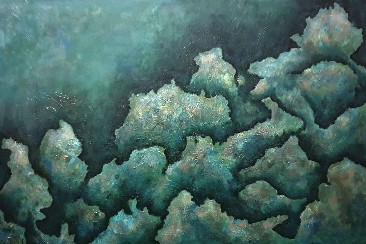 Original acrylic painting in an abstract style depicting an underwater scene of rocks and corals in shades of blue and teal with yellow and pink highlights.